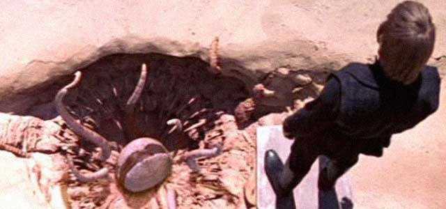 Luke over the Sarlacc Pit of Carkoon on Tatooine.